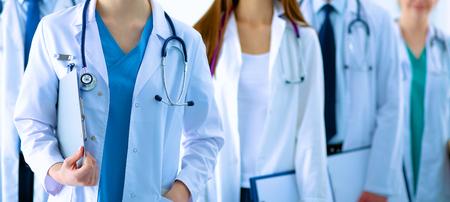 Portrait de groupe de sourire collègues des hôpitaux, debout, ensemble Banque d'images