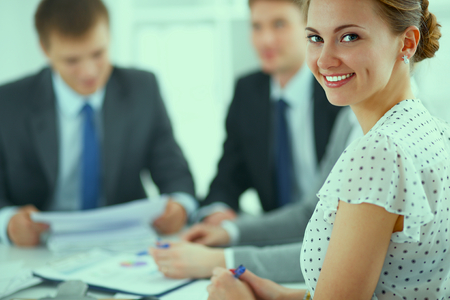 lawyer meeting: Business handshake. Business people shaking hands, finishing up a meeting Stock Photo
