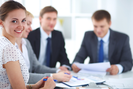 team business: Business people sitting and discussing at business meeting Stock Photo
