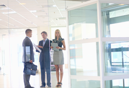 business people meeting: Business woman standing with her staff in background at modern office . Stock Photo