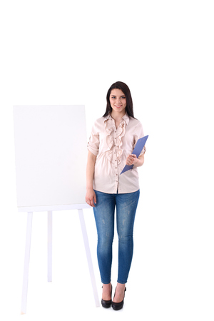 lovely businesswoman: Portrait of a lovely young businesswoman while presenting her project on board