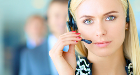Portrait of support phone operator with the headset Stock Photo