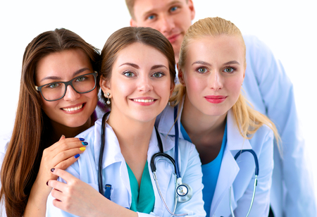 healthcare and beauty: Portrait of group of smiling hospital colleagues standing together . Stock Photo