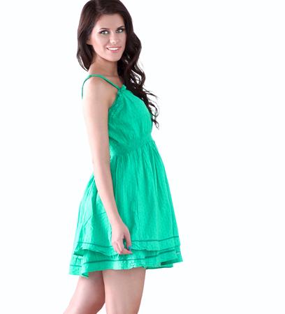 teethy: Fashion model wearing green dress.