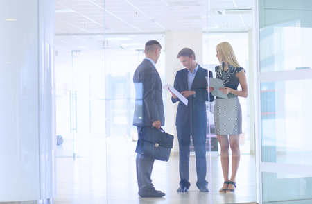 chicas sonriendo: Mujer de negocios de pie con su personal en segundo plano en la oficina moderna.