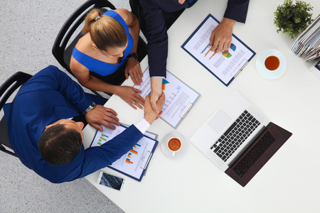 Business people sitting and discussing at business meeting Stock Photo