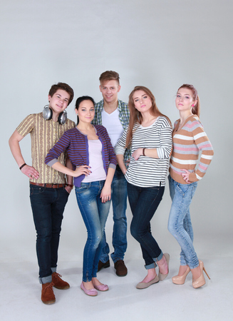 study group: Group of happy students. Isolated over white background Stock Photo