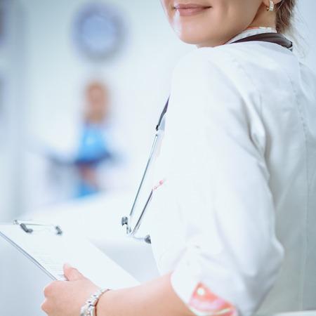 Woman doctor standingat hospital Stock Photo