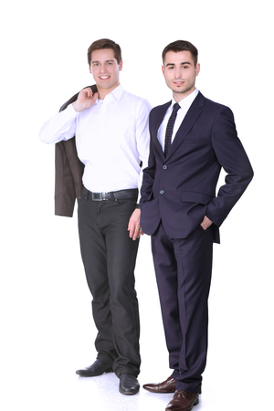 Businessmen shaking hands, isolated on white background Stock Photo