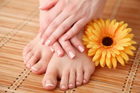 花と美しい女性の足のケア。美しい女性の足 写真素材