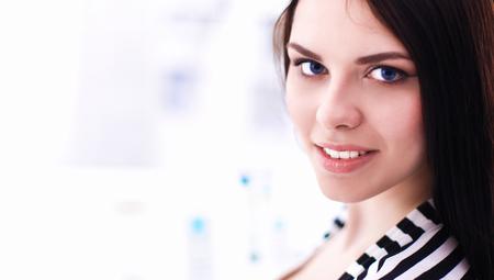Beautiful young woman in shop