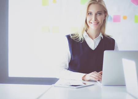Attractive business woman working on laptop at office. Business people