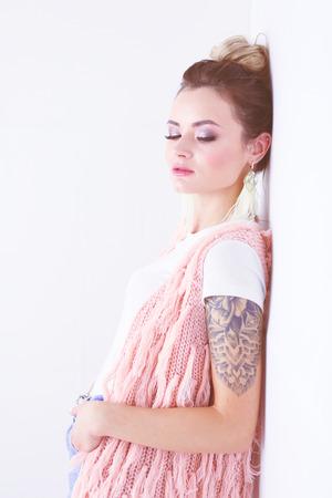 Beautiful woman portrait. Isolated on white background Stock Photo
