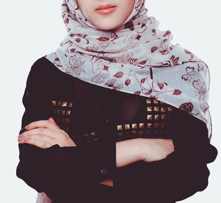 Young asian woman portrait wearing a red head scarf. Young asian woman 版權商用圖片