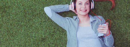 Woman listening to the music. Woman. Stock Photo