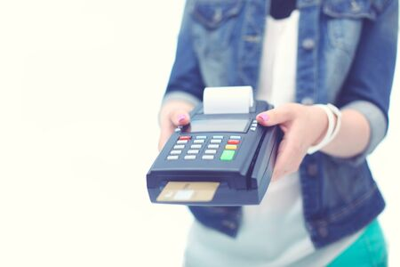 Credit card payment, buy and sell products service. Credit card. Stok Fotoğraf