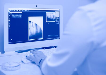 A female medical doctor looking at x-rays and using laptop in a hospital. 免版税图像