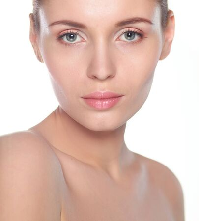 Portrait beautiful spa woman touching her face