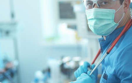 Male surgeon on background in operation room Standard-Bild