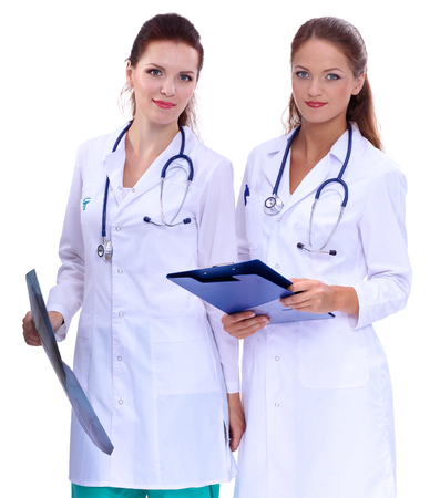 x ray image: Two woman doctor with X Ray image Stock Photo