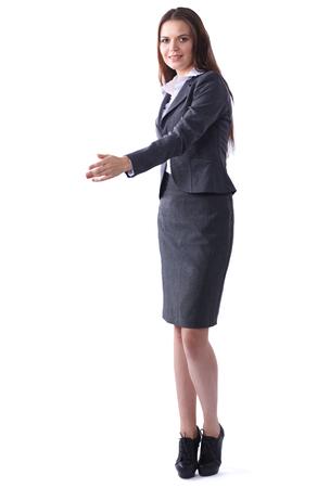 personas saludandose: Mujer de negocios que da la mano para el apretón de manos