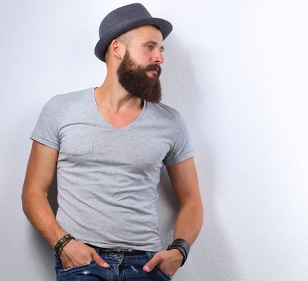 Portrait of handsome bearded man isolated on grey background Stok Fotoğraf
