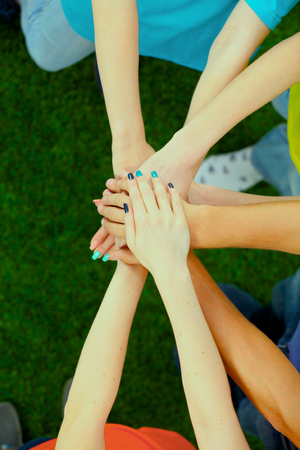 altogether: People joining their hands  on green grass . Stock Photo