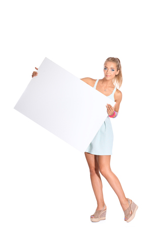 notecard: Young woman with blank board banner, isolated on white