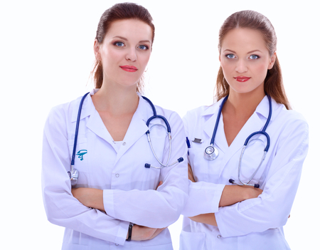 x ray image: Two woman nurse watching X Ray image, standing in hospital. Stock Photo