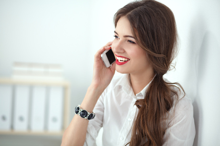 telephone saleswoman: Smiling businesswoman talking on the phone at the office.