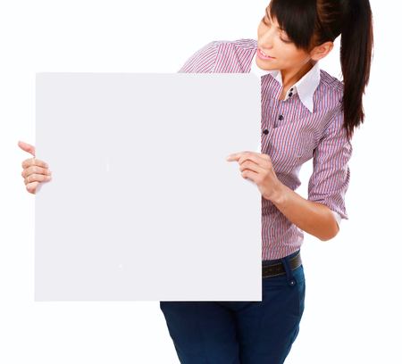 notecard: Young woman with blank board banner, isolated on white background Stock Photo