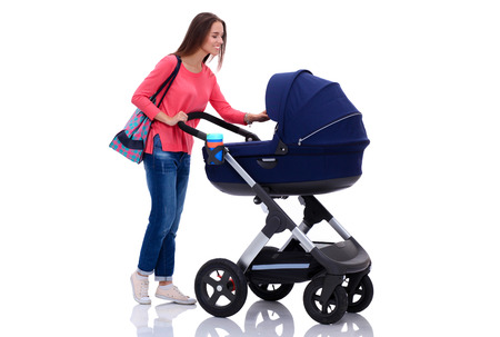 mammy: Full length portrait of a mother with a stroller, isolated on white background