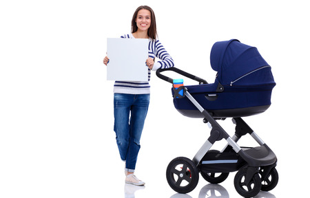 mammy: Full length portrait of a mother with a stroller holding blank, isolated on white background Stock Photo