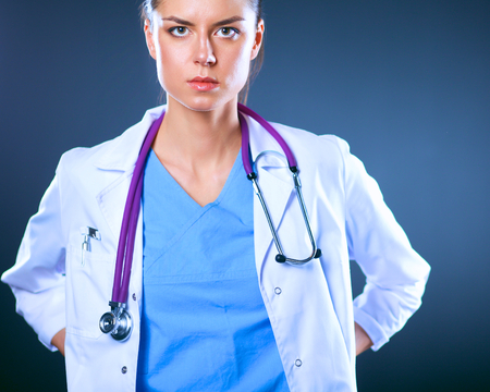 Beautiful young doctor portrait with stethoscope Stock Photo