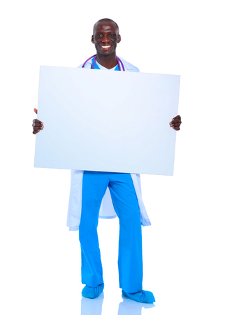 a placard: Male doctor holding empty placard.