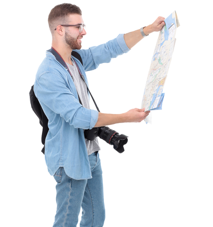 Young man holding map on white background. Stock Photo