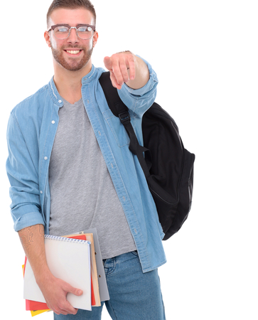 big shirt: Young man standing with handbag isolated on white background.