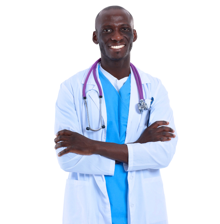 oncologist: Portrait of a doctor man standing isolated on white background Stock Photo