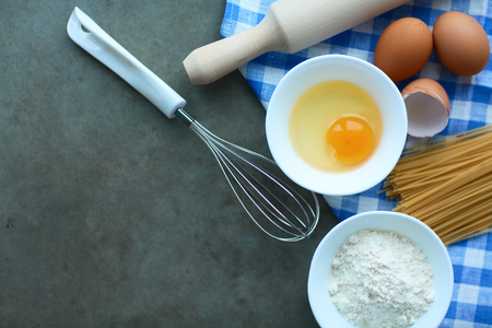 ingridients: Dough preparation recipe homemade bread, pizza or pie ingridients, food flat lay on kitchen table background