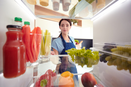 Open refrigerator with fresh fruits and vegetable. Open refrigerator Stok Fotoğraf