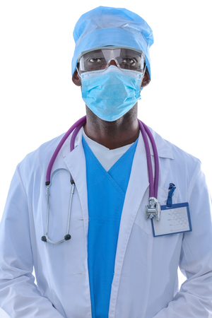 Portrait of a doctor wearing a mask and uniform. isolated on white background.