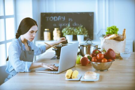 Young Woman in kitchen with laptop computer looking recipes, smiling. Food blogger concept Stock Photo