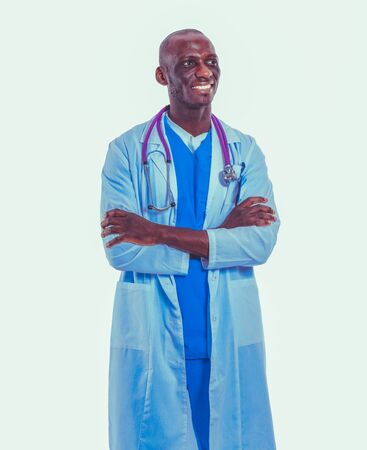 Portrait of a doctor man standing isolated on white background. Doctor. Clinic