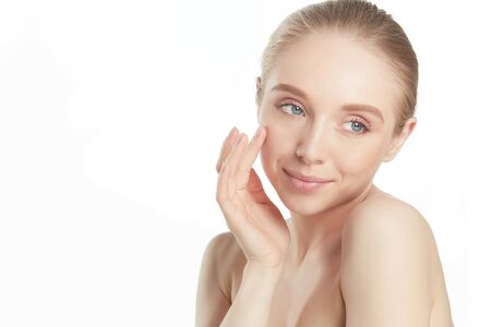 Beautiful young woman with fresh clean perfect skin Stock Photo - 128765707