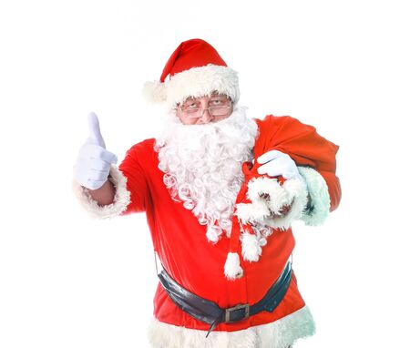 Santa Claus with Christmas Gift, isolated on white background. Stockfoto