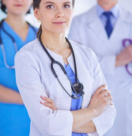 Group of doctors and nurses standing in the hospital Accident and Emergency department