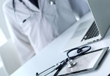 Medicine doctor offering hand to shake in office closeup. Doctors.