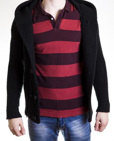 Souvent Figura Di Uomo In Maglione Nero E T-shirt Nera Con Croce Foto  ZF72