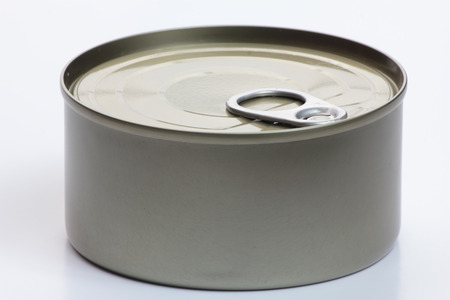 hermetic: One grey metal can on white background. Stock Photo