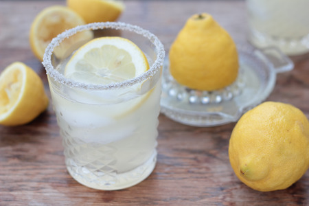 freshly prepared: Glass of freshly prepared, cold and refreshing lemonade.
